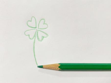 Happy, lucky, lucky, four-leaf clover, colored pencils