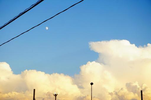 Sky summer cloud electric wire utility pole