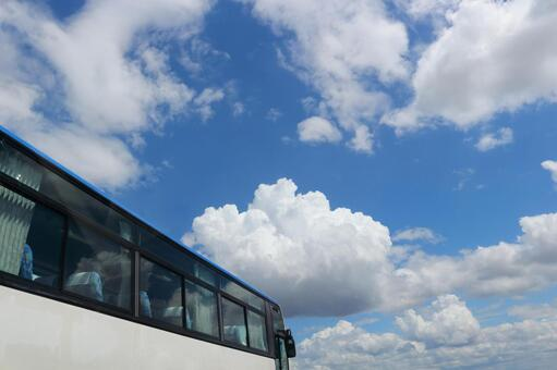 Blue sky and bus