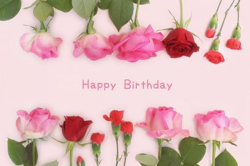 Birthday card of rose and carnation 1