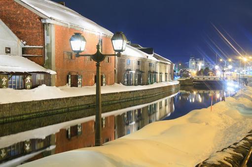Otaru canal at night in winter