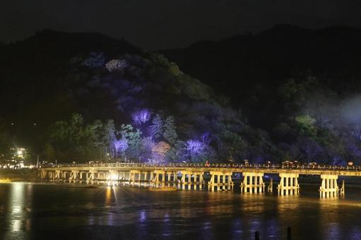Togetsukyo Bridge at night