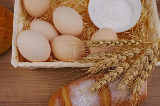 Wheat, bread and eggs
