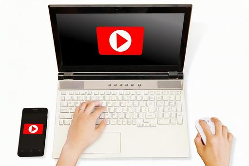 Video sharing service, computer and smartphone-white background