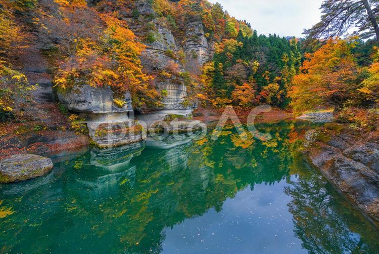南会津 塔のへつりの秋模様の写真