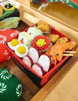 New Year's decorations for New Year's dishes made of cloth