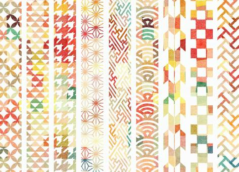 Vertical Japanese pattern line (colorful)