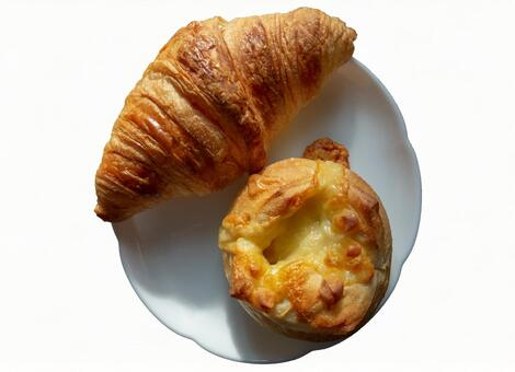 Croissant and cheese bread (with PSD)