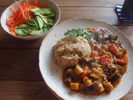 Eggplant and tomato's brown rice curry rice
