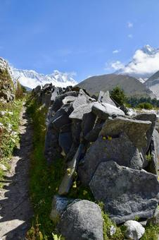 Mani stone, Ama Dablam and Lhotse between Tamboche and Pheriche in Nepal