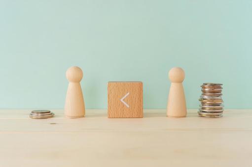 임금 격차, 빈부 격차 | 2 체의 인형 오브제와 부등호 적목과 쌓인 돈