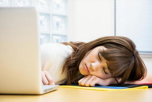 Tired female employee 5