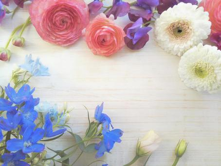 Colorful botanical frame of sweet pea and ranunculus