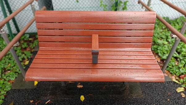 Park bench wet in the rain