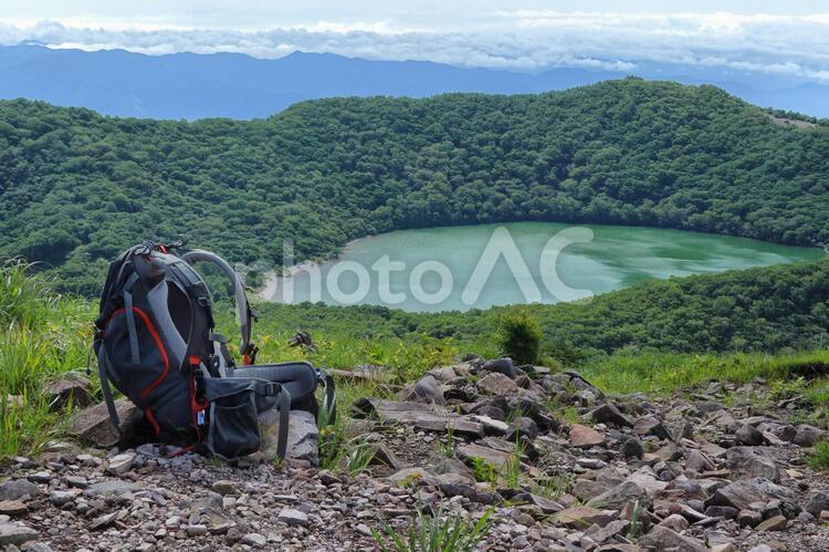 """日本百名山""""赤城山""""地蔵岳山頂でザックを下ろして休憩の写真"""