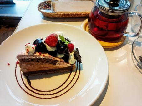 Berry chocolate cake tea time sweets food texture material