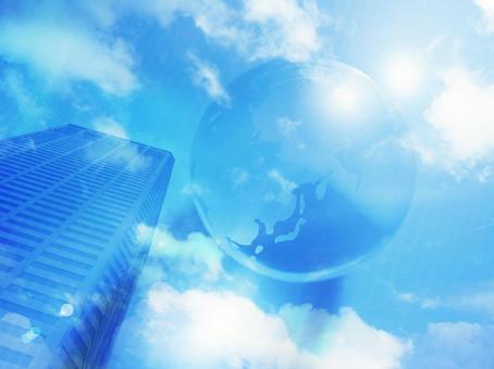 摩天大樓和藍色地球