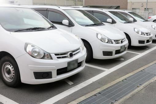 A parked white car