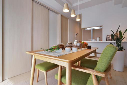 Dining kitchen with closed sliding door to living room