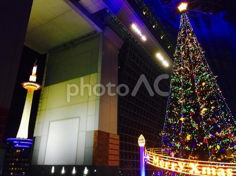 京都タワーとXmasツリーの写真