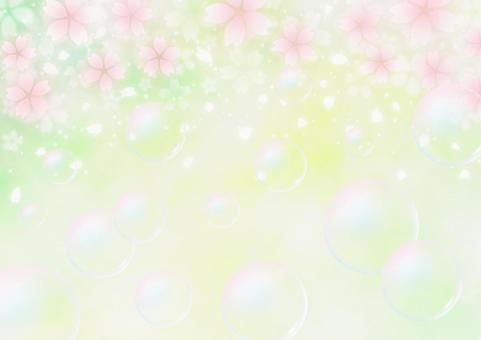 Cherry blossoms and soap bubbles Fantastic spring background material (yellowish green)