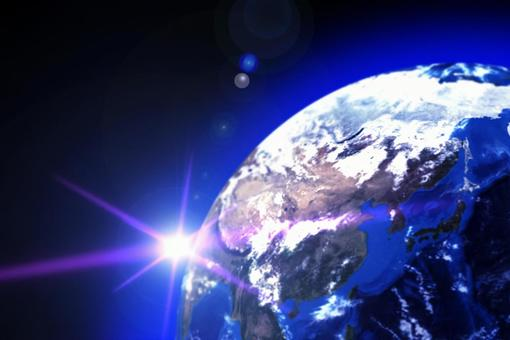 Earth and flare-black space background