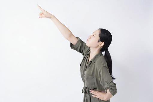 Woman pointing to the point