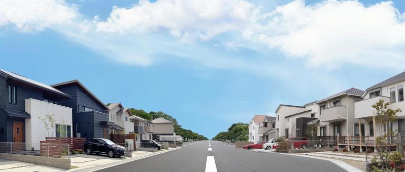 Residential detached cityscape panoramic material