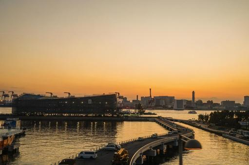 Cityscape and evening view of Odaiba, Tokyo