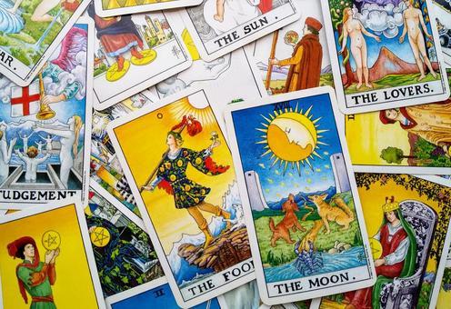Arranged tarot cards