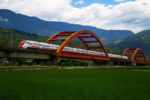 대만 동부 화롄 - 논과 로컬 열차의 시골 풍경