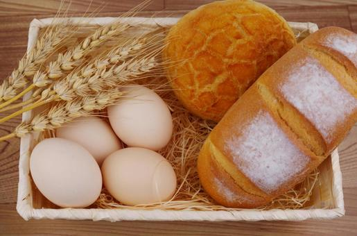 Bread, eggs and wheat