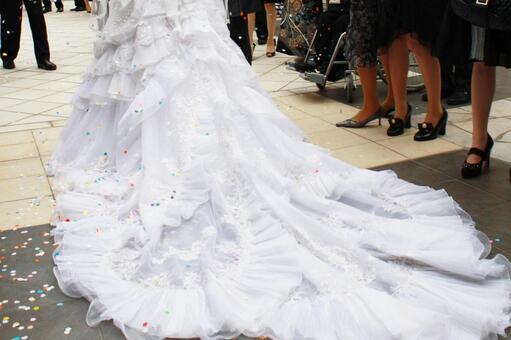 Wedding veil with people celebrating the wedding