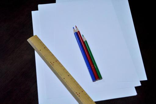 Colored pencils and paper and rulers