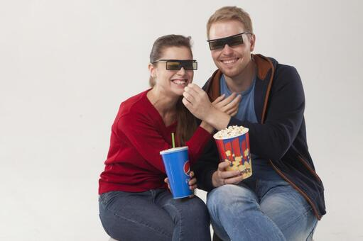 Couple seeing 3D movies 16