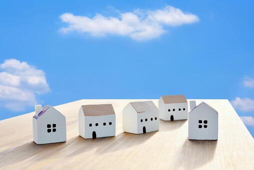 푸른 하늘과 주택