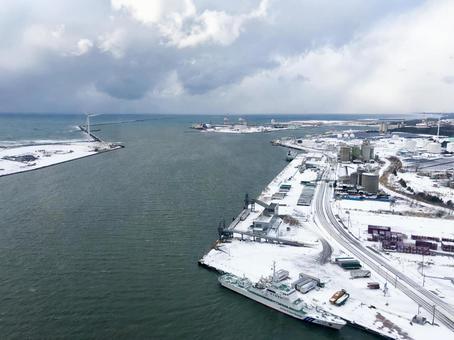 Port of Akita in winter