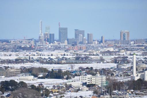 Snowy scenery from the upper floors to Saitama Shintoshin