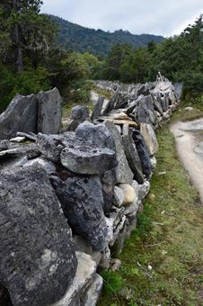 Mani stone between Tamboche and Pheriche in Nepal