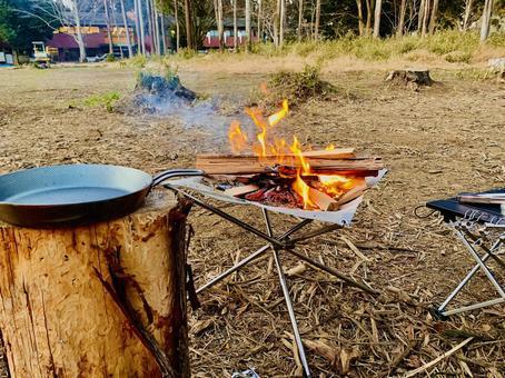 Bonfire in winter camp