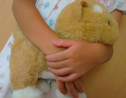 一个女孩抱着一个毛绒动物