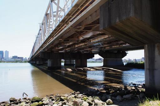 Railway bridge over the Yodogawa riverbed