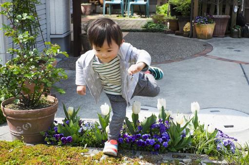 2歲的孩子跳過花壇