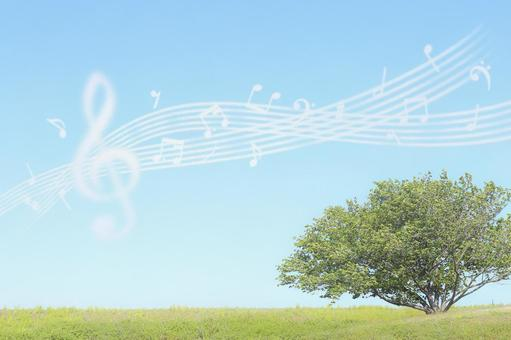 Blue sky and musical notes