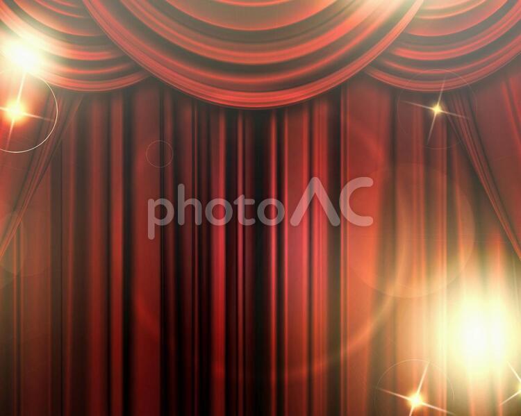 赤い舞台カーテンの写真