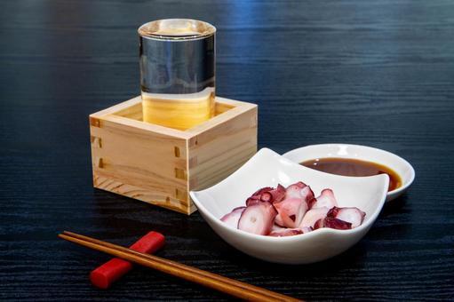 Sake and octopus chopped