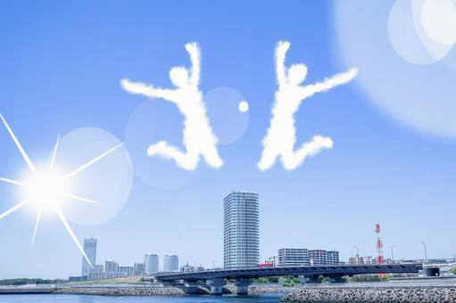 Clouds in the shape of a person jumping into the blue sky Image of a person jumping