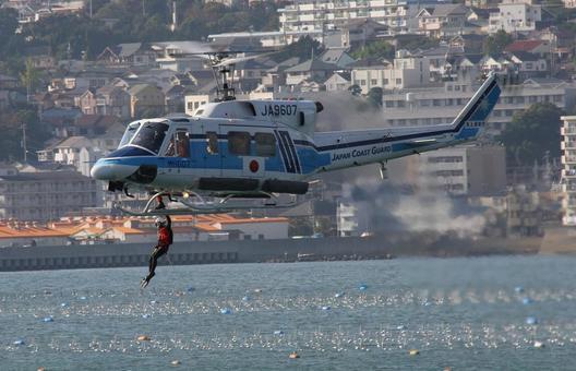 해상 보안청의 헬리콥터 회수 데모