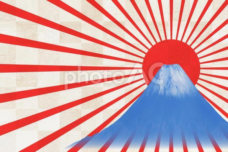 和紙と富士山とご来光-横の写真
