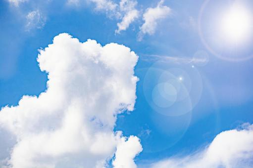 Summer sky and sun sky blue sky clouds white clouds summer sky background wallpaper